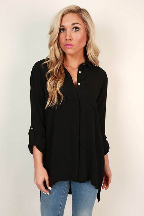 Soho Chic Button Up Top in Black