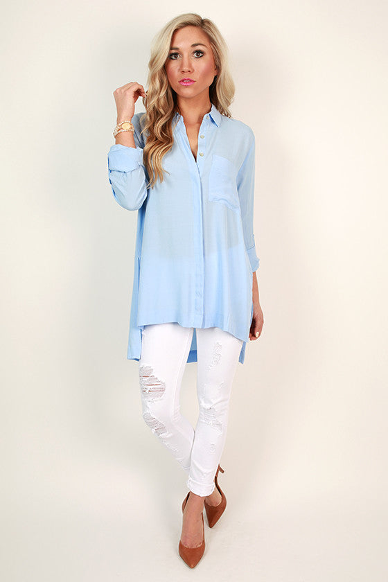 Soho Chic Button Up Top in Serenity