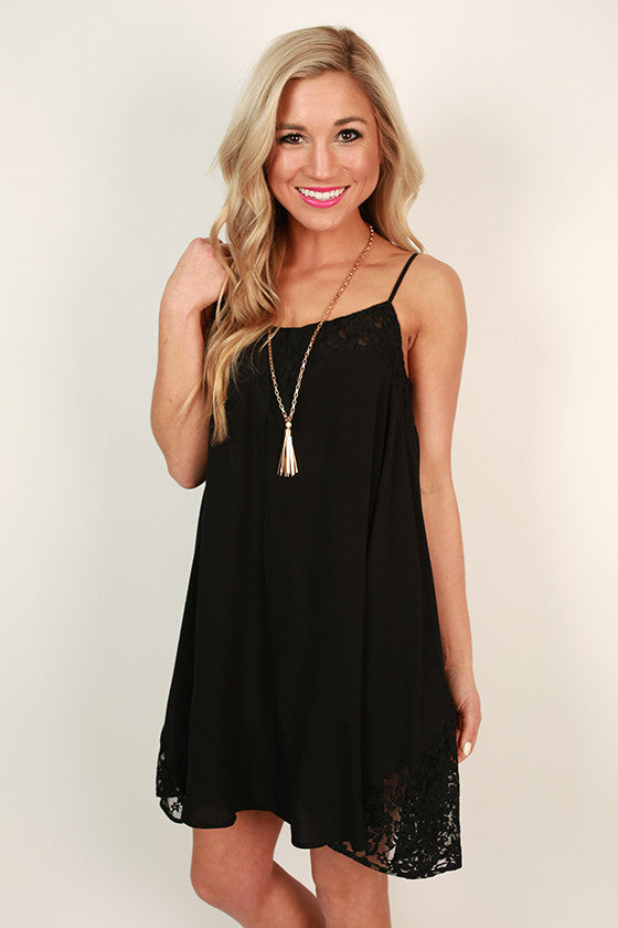French Martini Shift Dress in Black