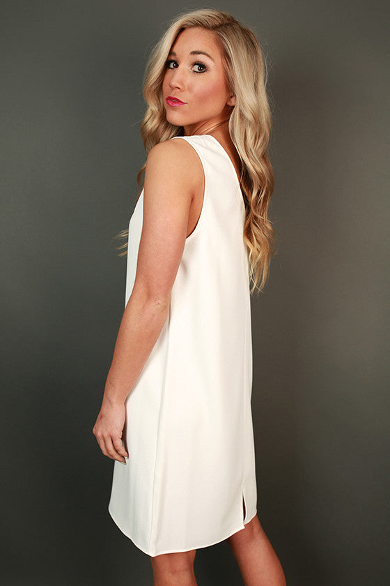 Forever Young Shift Dress in White