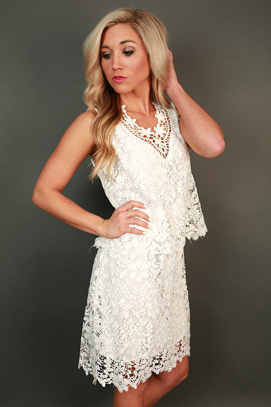 Crochet Kisses Shift Dress in White