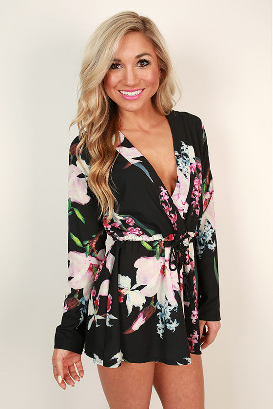 Flirting With Floral Open Back Romper
