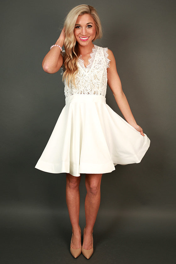 Love Me Like You Do V-Neck Dress in White