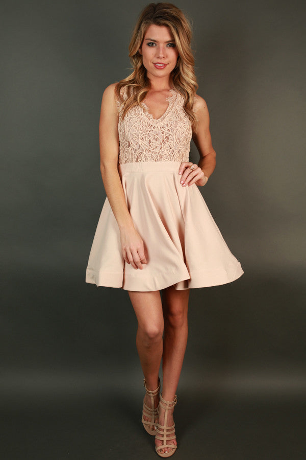 Love Me Like You Do V-Neck Dress in Latte