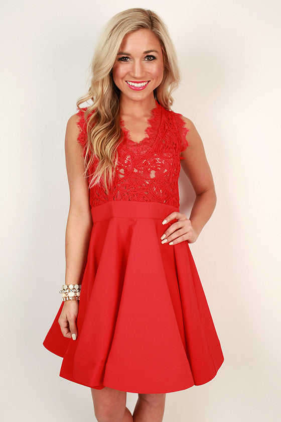 Love Me Like You Do V-Neck Dress in Red