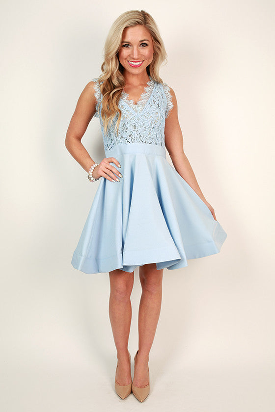 Love Me Like You Do V-Neck Dress in Sky Blue
