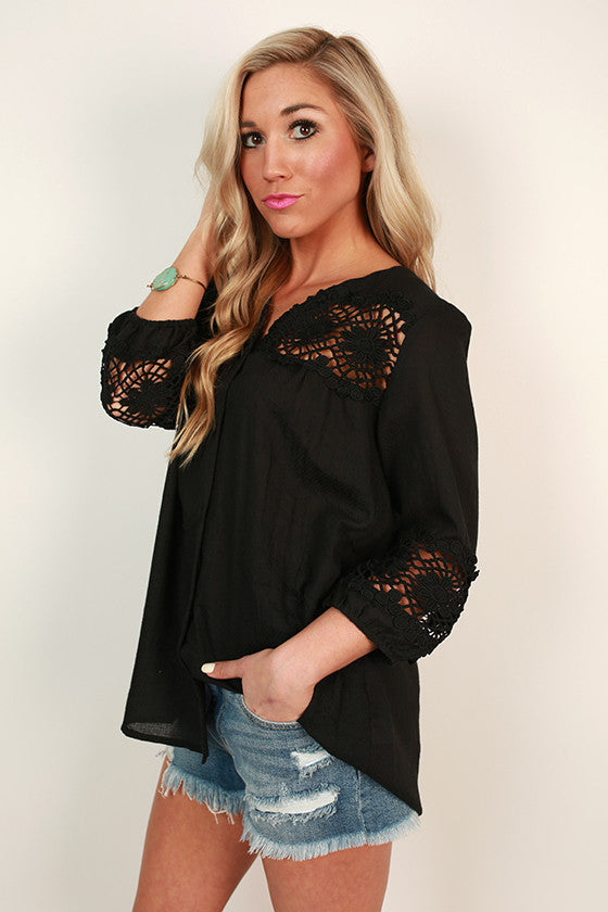 Boho Button Up Shift Top in Black