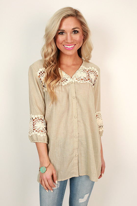 Boho Button Up Shift Top in Birch