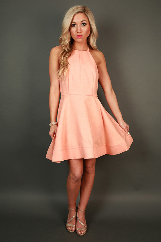 Heartbreaker Fit & Flare Dress in Light Peach