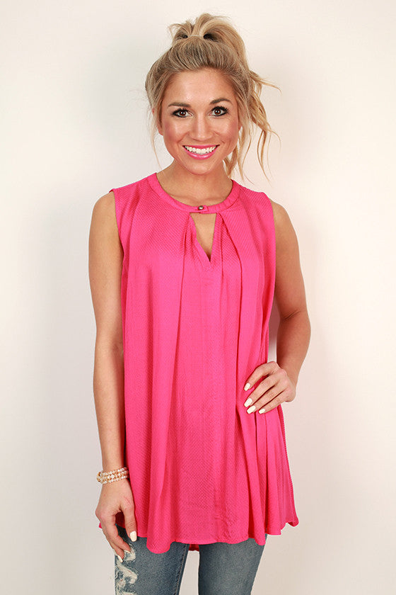 Tea Time Key Hole Shift Tunic in Hot Pink