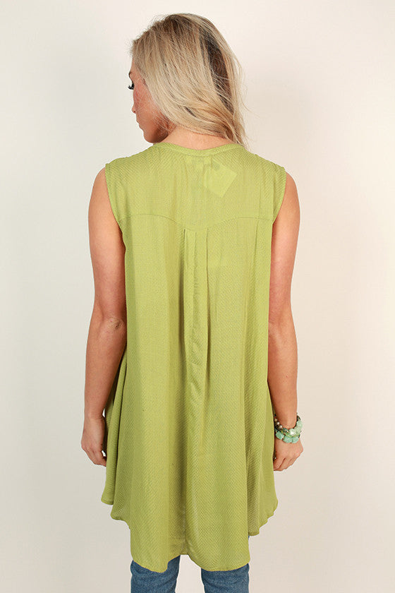 Tea Time Key Hole Shift Tunic in Green Flash