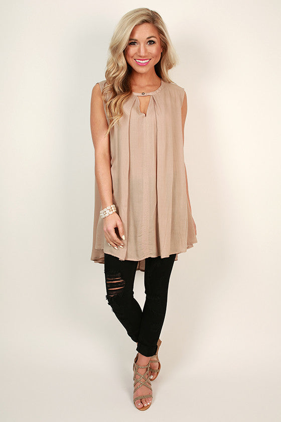 Tea Time Key Hole Shift Tunic in Taupe