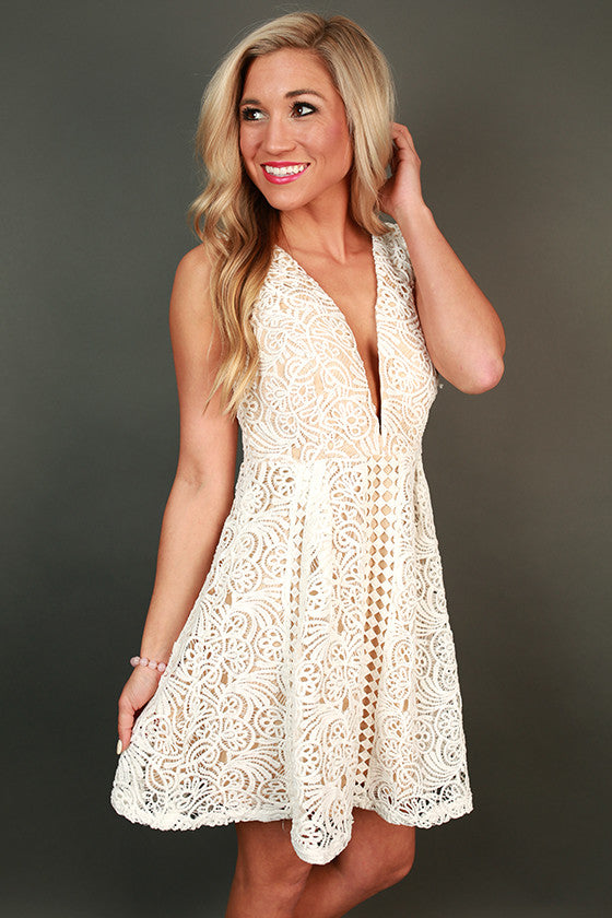 Princess Lace Fit & Flare Dress in White