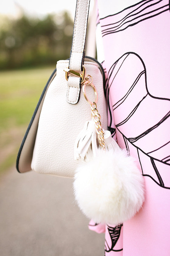 Pom Pom Pretty Crossbody in Stone