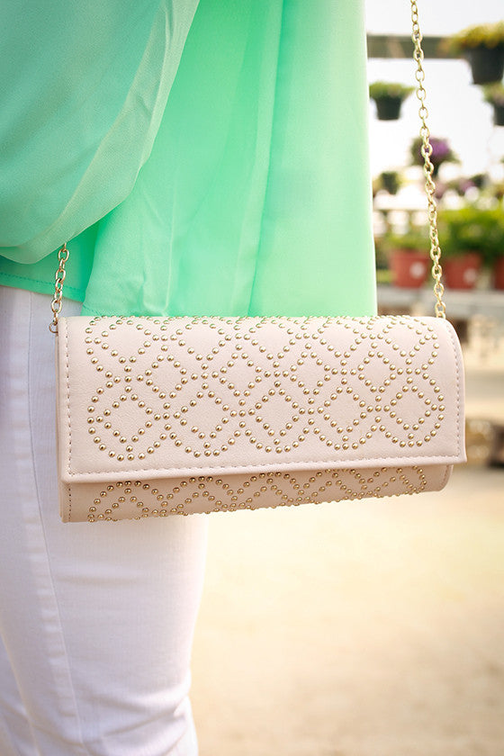 Wining & Dining Clutch in Stone