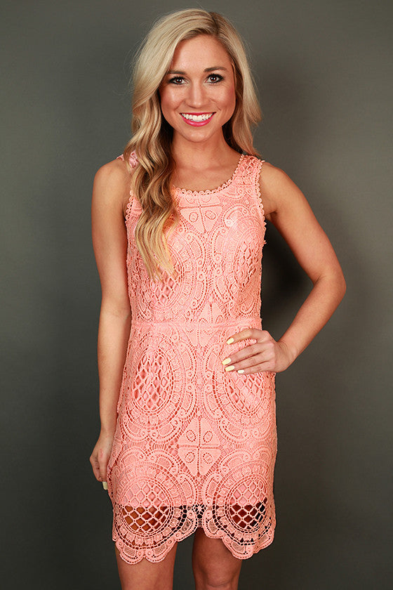 Garden Party Crochet Mini Dress in Peach Echo