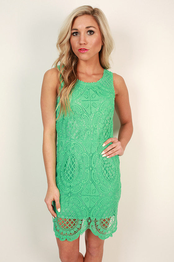 Garden Party Crochet Mini Dress in Emerald