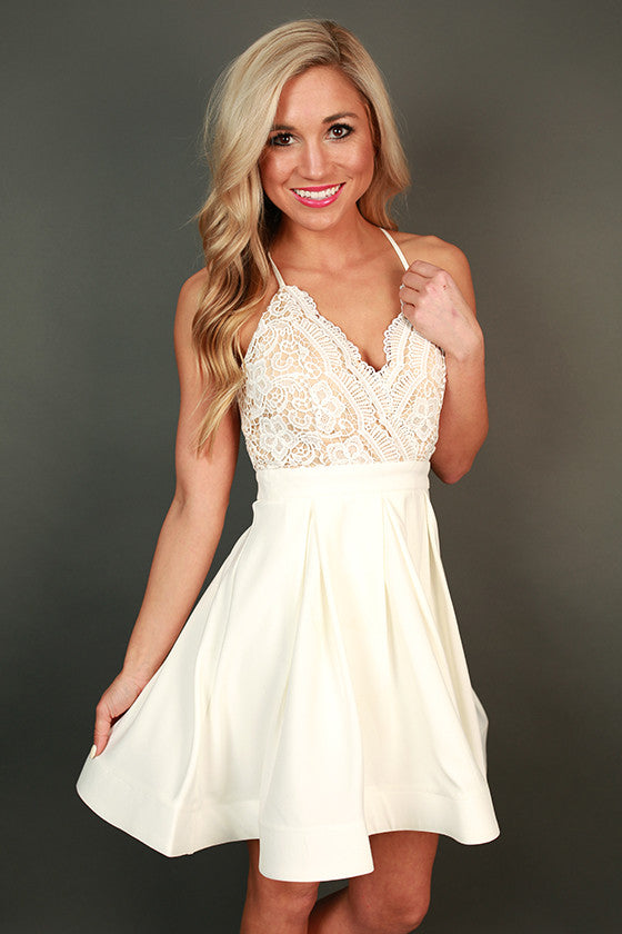 Mimosas & Twirls Fit & Flare Dress in Ivory