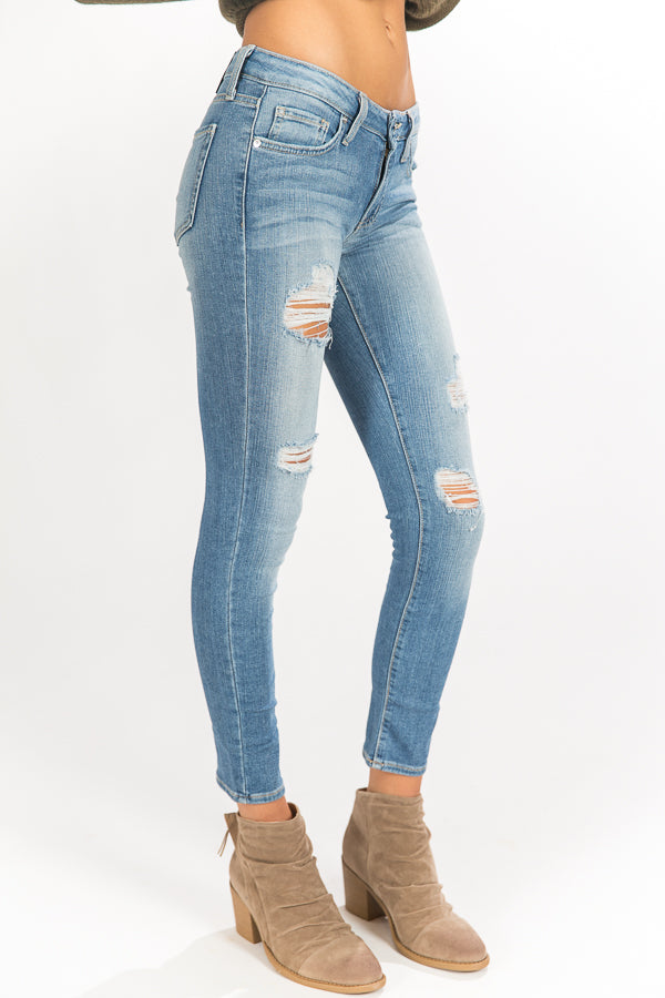 Mid Rise Distressed Ankle Skinny in Light Wash