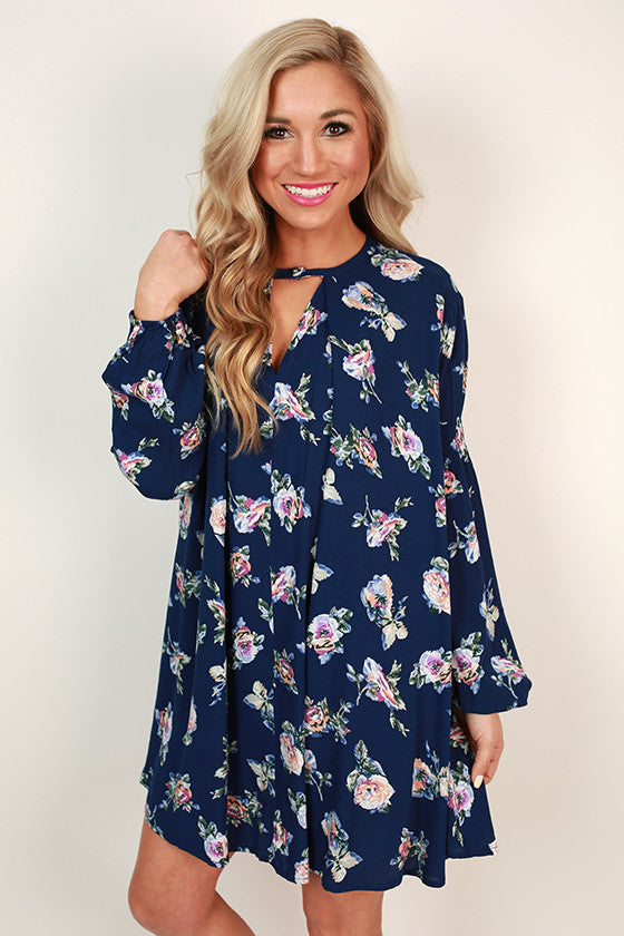 Flowers for Me Shift Dress in Navy