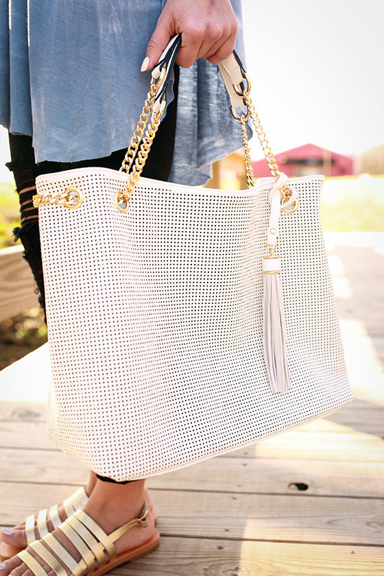 Hollywood Hills Tote Bag in White