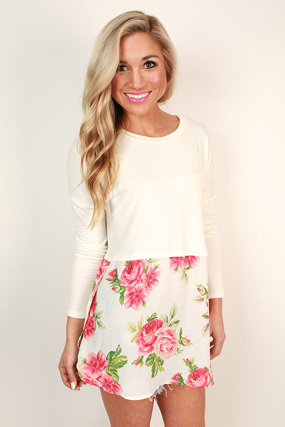Secret Garden Chiffon Tee in White