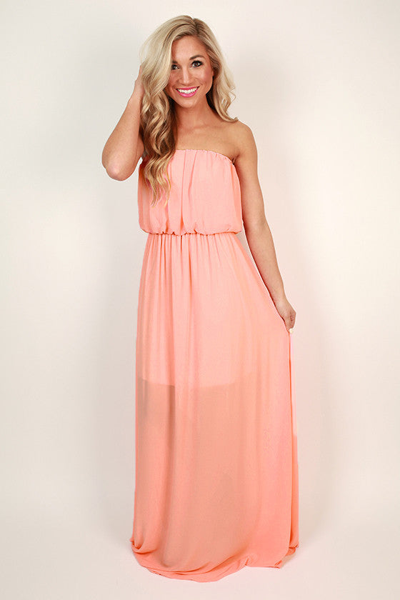 Made For You Maxi Dress in Peach Echo