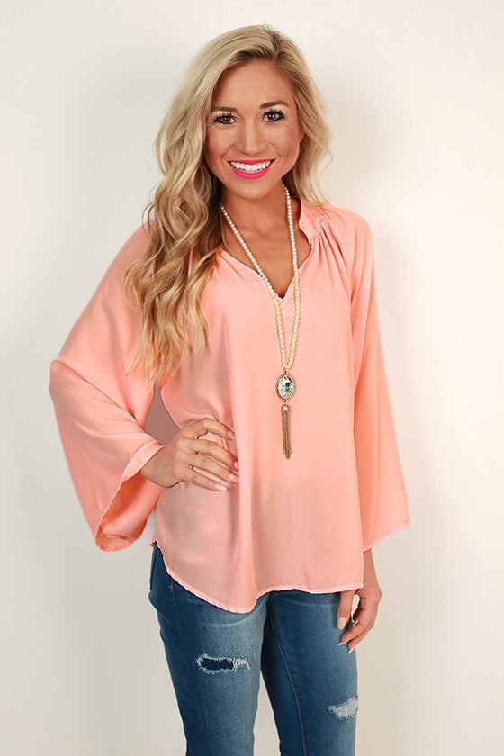 First Date Flair Top in Peach