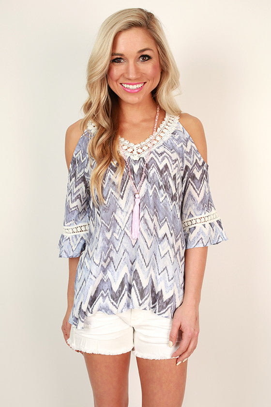 Lavender Garden Cold Shoulder Top