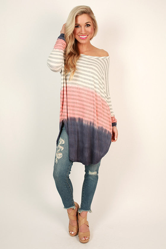 Ombre Haven Stripe Tee in Coral