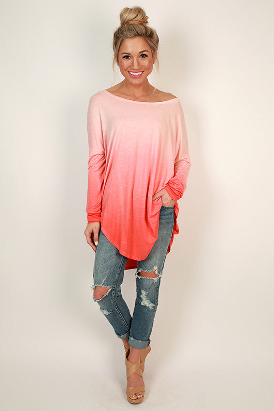 Ombre Watercolor Tee in Coral