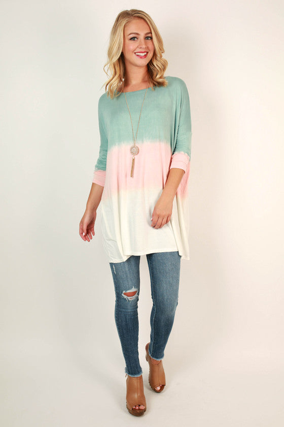 Ombre Watercolor Tunic in Dusty Aqua