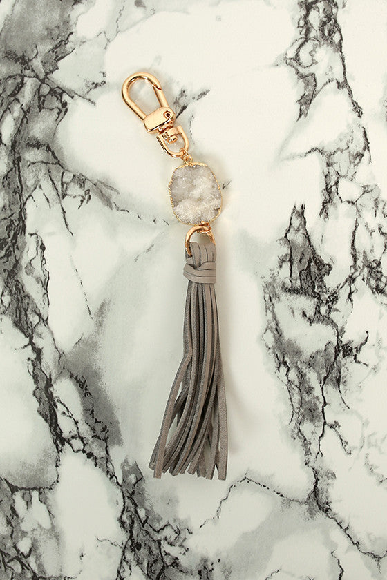Isla Tassel Keychain in Grey