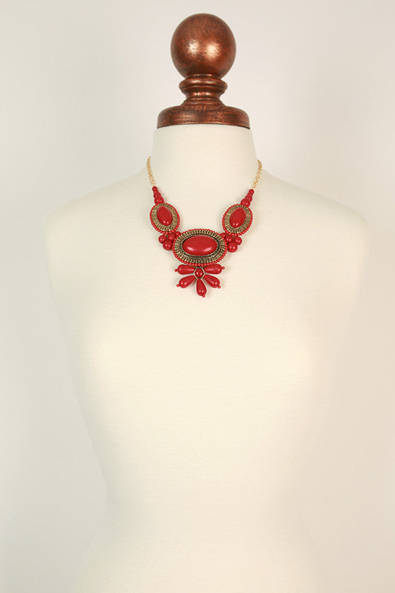 Bring The Heat Statement Necklace in Red