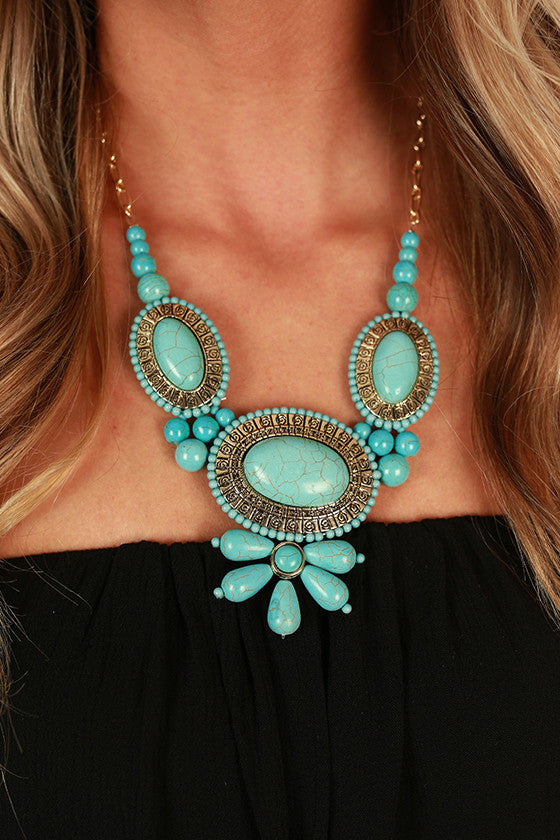 Bring The Heat Statement Necklace in Turquoise