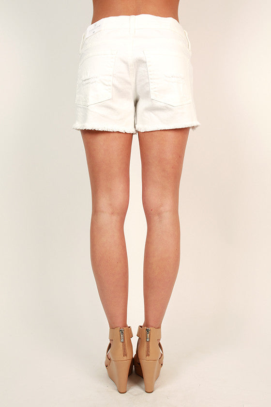 Distressed Cut Off Jean Shorts in Optic White