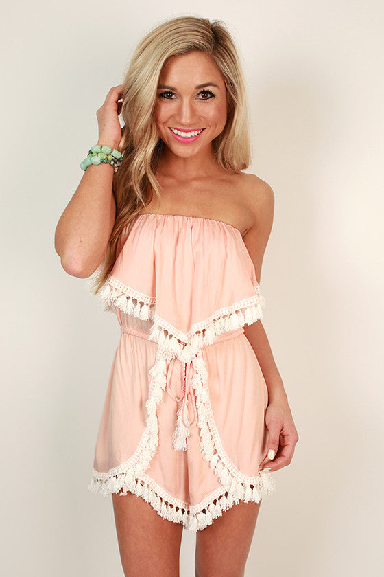 Vava Fringe Romper in Peach Echo