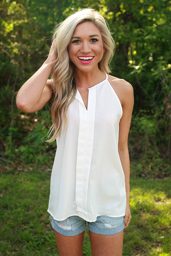 Party On the Patio Shift Tank in White