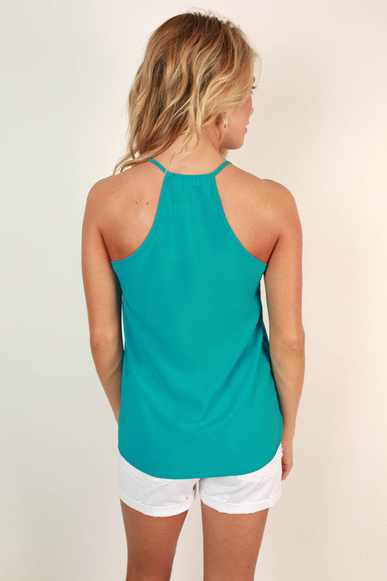 Party On the Patio Shift Tank in Ocean Blue