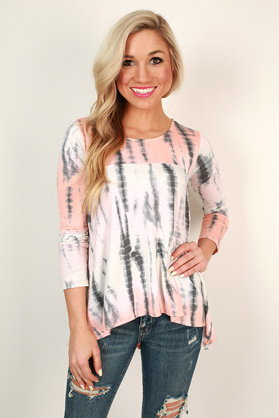 Island Sipping Tie Dye Tee in Peach
