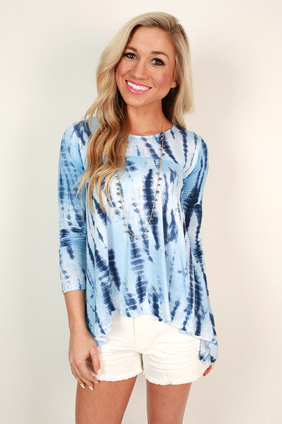 Island Sipping Tie Dye Tee in Sky Blue