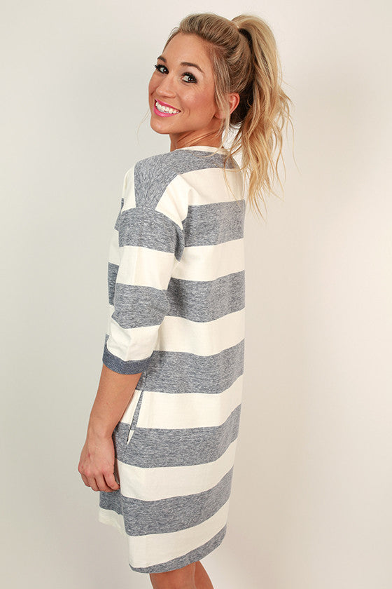 Just My Type Stripe Sweatshirt Dress in Navy