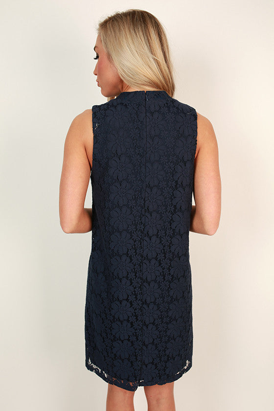 Brunch & Juleps Lace Shift Dress in Navy