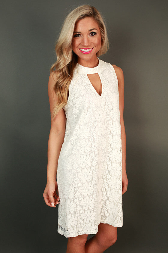 Brunch & Juleps Lace Shift Dress in Ivory