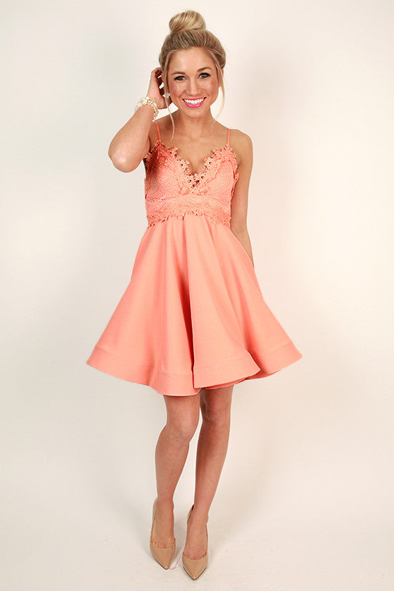 Delicate Details Lace Fit & Flare Dress in Apricot