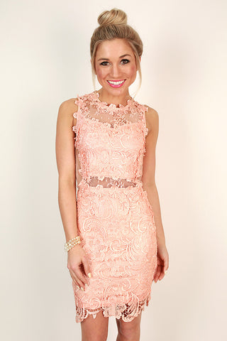 Darling Dreamer Lace Mini Dress in Peach Echo