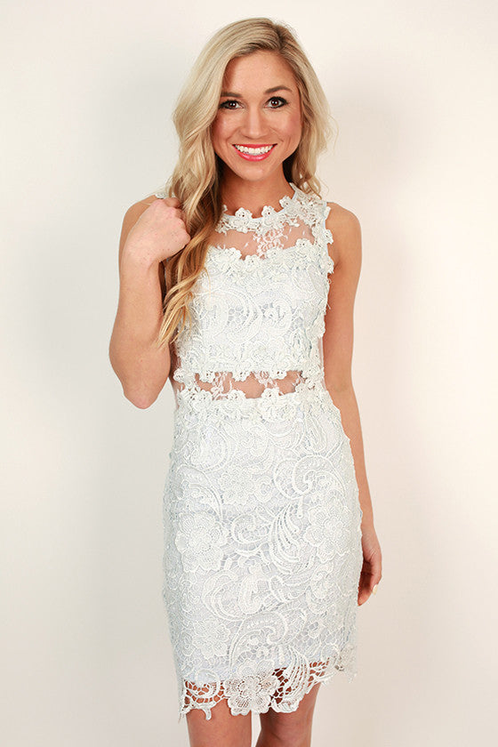Darling Dreamer Lace Mini Dress in Light Sky Blue