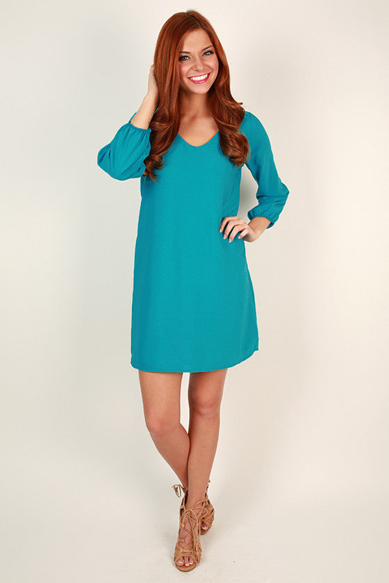Party On The Patio Shift Dress in Ocean Blue
