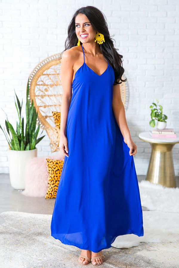 Hey Soul Sister Maxi Dress in Royal Blue