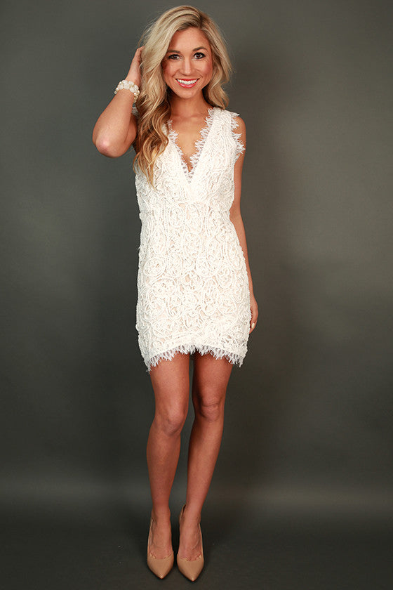 Bat My Lashes Lace Mini Dress in White
